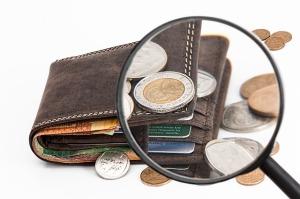 Portemonaie mit Geld, vergrößert durch eine Lupe als Sinnbild